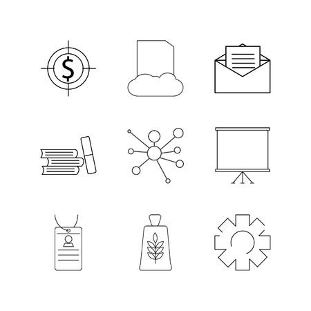 Affaires linéaire icône set. icônes de contour simples Banque d'images - 95126469