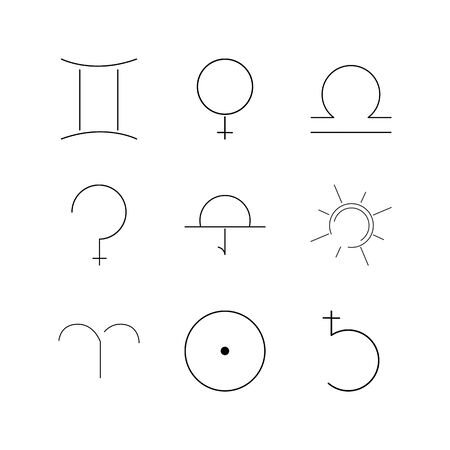 Astrology linear icon set. Simple outline icons illustration.