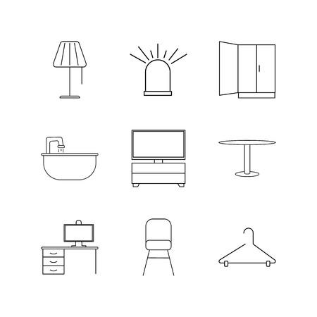 Furniture linear icon set. Simple outline icons illustration. Ilustração