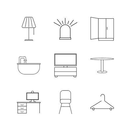Furniture linear icon set. Simple outline icons illustration. Vettoriali