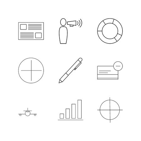 Business linear icon set. Simple outline icons illustration.