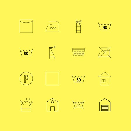 Laundry linear icon set. Simple outline icons Vettoriali