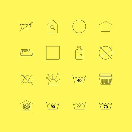Laundry linear icon set. Simple outline icons.