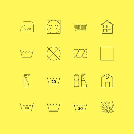 Laundry linear icon set. Simple outline icons illustration.