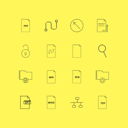 Files And Folders linear icon set. Simple outline icons.