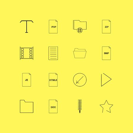Files and folders linear icon set. Simple outline icons illustration. Stock Vector - 95293012