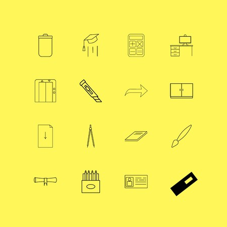 Office linear icon set. Simple outline icons