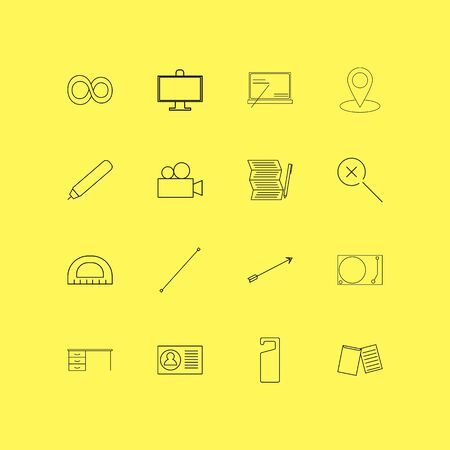 Office linear icon set. Simple outline icons illustration.