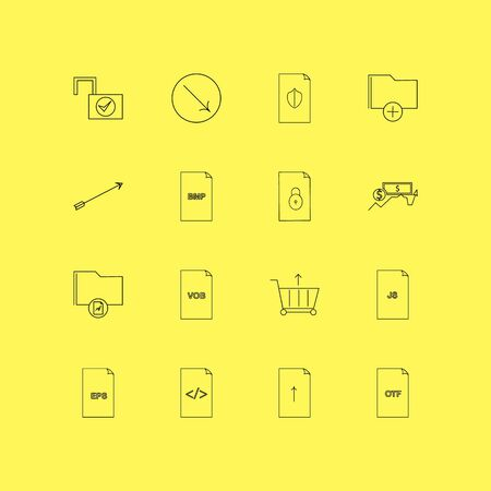 Files and folders linear icon set. Simple outline icons illustration. Stock Vector - 95293042