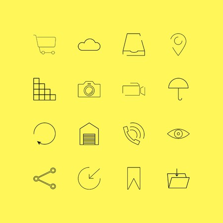 Interface linear icon set. Simple outline icons Illustration
