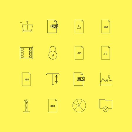 Files and folders linear icon set. Simple outline icons illustration.