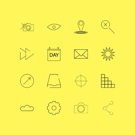 Interface linear icon set. Simple outline icons. Illustration