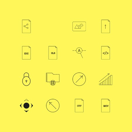 Files And Folders linear icon set. Simple outline icons