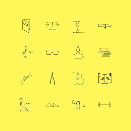science linéaire icône set. simples icônes .vector illustration