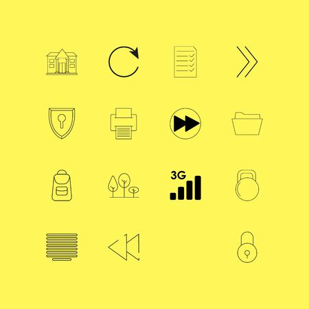 Essential linear icon set. Simple outline icons illustration. Иллюстрация