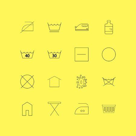 Laundry linear icon set. Simple outline icons illustration. Ilustração Vetorial