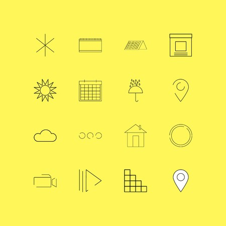Interface linear icon set. Simple outline icons illustration.