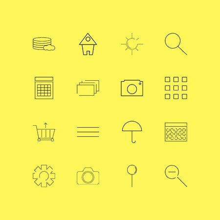 Interface linear icon set. Simple outline icons Ilustração
