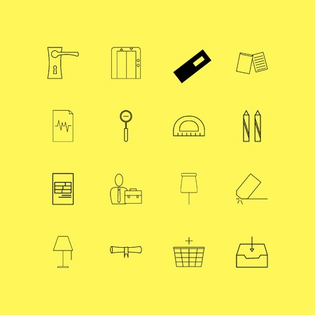 Office linear icon set. Simple outline icons.