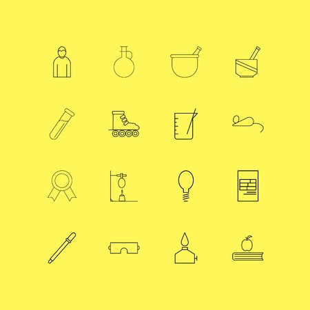Science linear icon set. Simple outline icons.