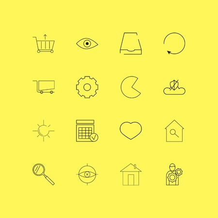 Interface linear icon set. Simple outline icons Ilustração
