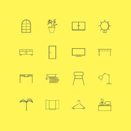 Furniture linear icon set. Simple outline icons