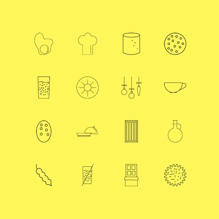 Food And Drink linear icon set. Simple outline icons Çizim