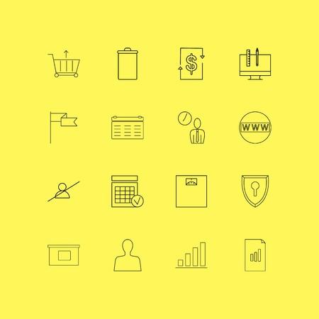 Business linear icon set. Simple outline icons Ilustração