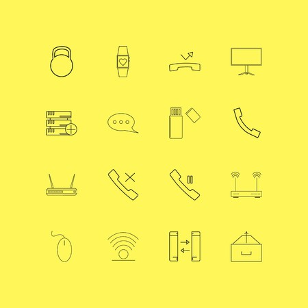 Devices linear icon set. Simple outline icons.
