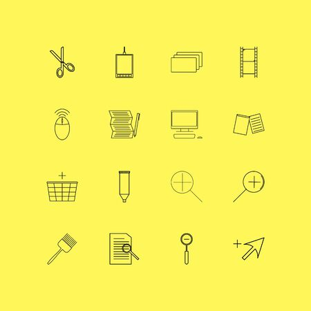 Design Elements linear icon set. Simple outline icons.