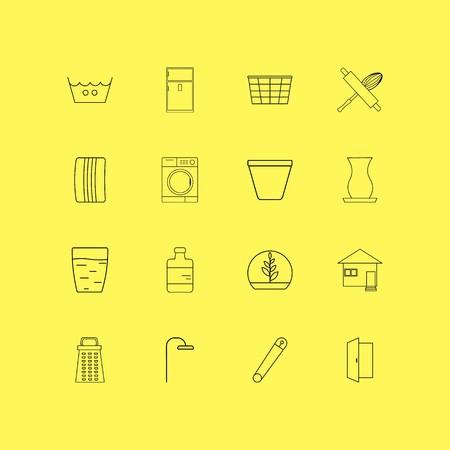 Huistoestellen lineaire icon set. Eenvoudige overzichtspictogrammen Stock Illustratie