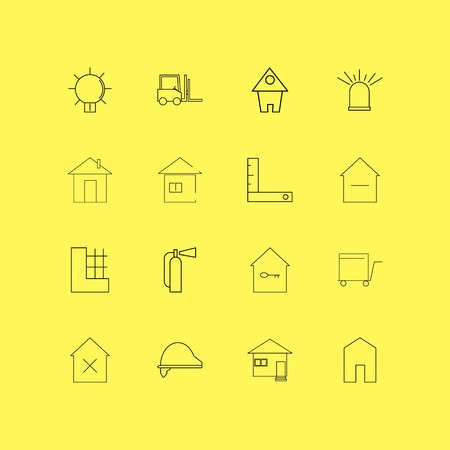 Buildings, Construction And Industry linear icon set. Simple outline icons. Иллюстрация