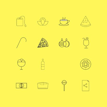 Food And Drink linear icon set. Simple outline icons Ilustração