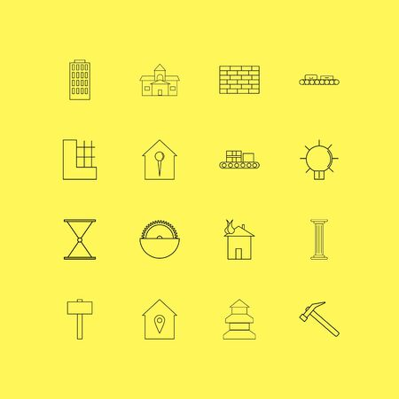 Buildings, Construction And Industry linear icon set. Simple outline icons Çizim