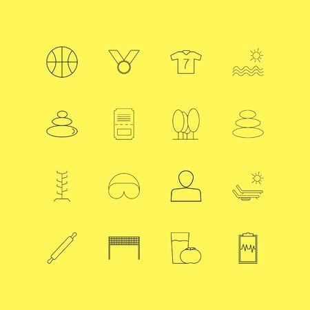Insieme dell'icona lineare di sport e benessere. Icone semplici muta