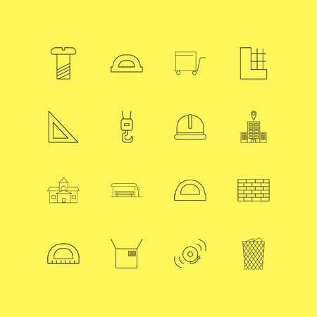 Buildings, Construction And Industry linear icon set. Simple outline icons. Çizim