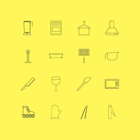 Home Appliances linear icon set. Simple outline icons. Çizim