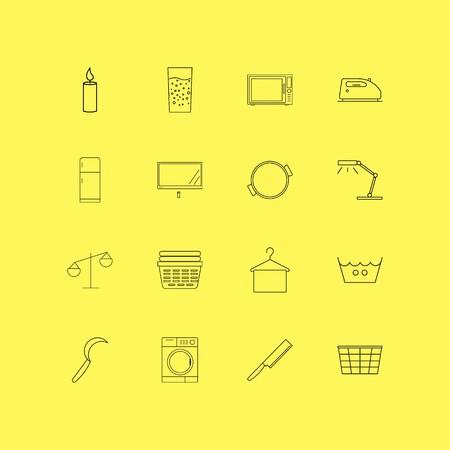 Huistoestellen lineaire icon set. Eenvoudige overzichtspictogrammen.