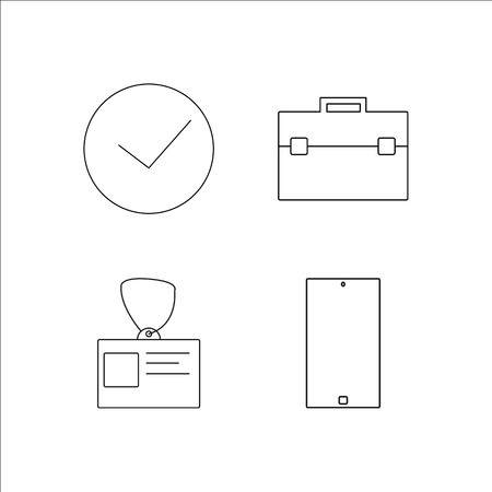 Business simple linear icon set.Simple outline icons Ilustrace