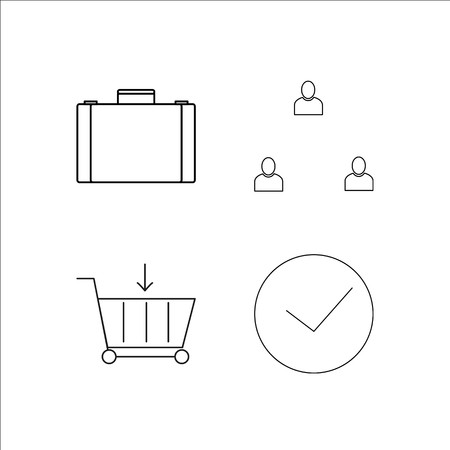 Business simple linear icon set like case and clock.Simple outline icons