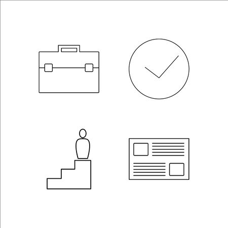 Business simple linear icon set like clock and document.Simple outline icons Illustration