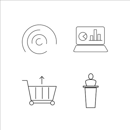 Business simple linear icon set.Simple outline icons Vettoriali