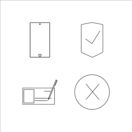 Business simple linear icon set. Simple outline icons illustration.