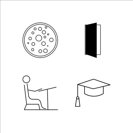 Onderwijs eenvoudige lineaire icon set. Eenvoudige overzicht pictogrammen Stockfoto - 96365439