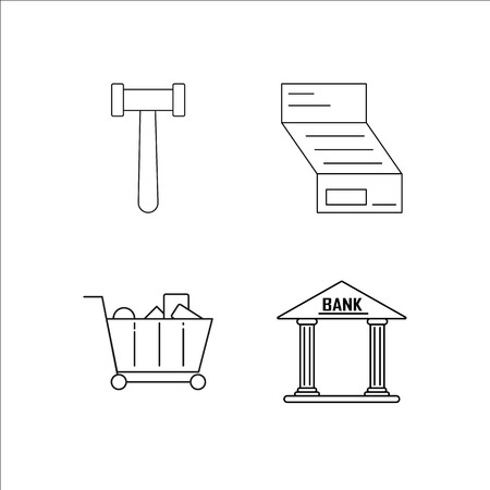 Finance Banking And Money simple linear icon set.Simple outline icons