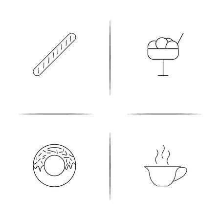 Food And Drink linear simple vector icon set.Outline icons 일러스트