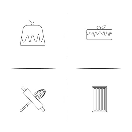 Food And Drink linear simple vector icon set.Outline icons Çizim