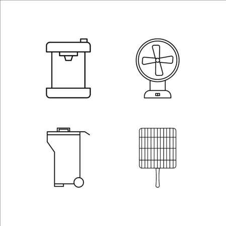 Home Appliances simple linear icon set.Simple outline icons Ilustrace