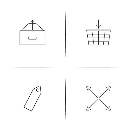 Web linear simple vector icon set.Outline icons Stock Illustratie