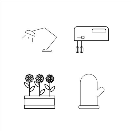 Home Appliances simple linear icon set.Simple outline icons Illustration